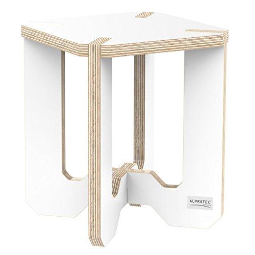 AUPROTEC Blumenhocker Beistelltisch HE-22 Birke 25 x 25 x 30 cm Blumenständer weiß Multiplex Birken-Sperrholz in exklusivem Design als Deko Pflanzen-Säule Fußbank Hocker Tisch (Birke Beistelltisch)