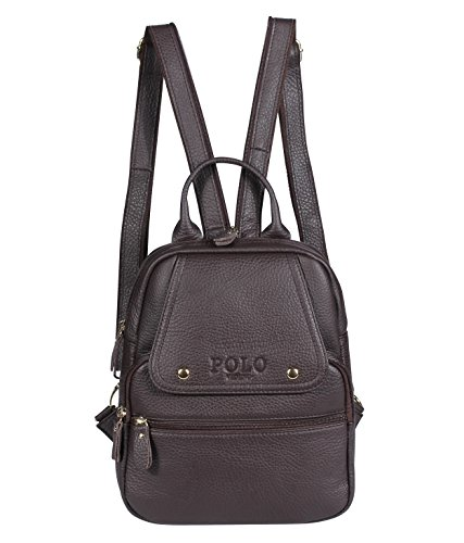 VIDENG POLO Leder Rucksack Handtasche Lässige Tagesrucksäcke Mode Schule Reise Wandern Rucksäcke für Frauen, 4 Größen, 3 Farben (braun-B1) (Mini-rucksack Frauen Für Jansport)