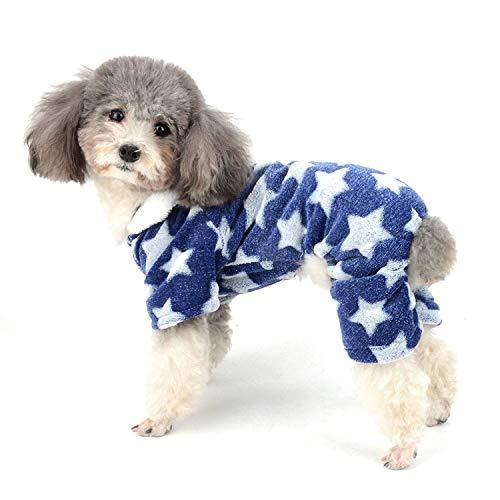 Hunde-Pyjama Flecce Overall Winter Jumpsuit Mädchen Haustier Hoodie Chihuahua Kleidung Welpen Pyjama Outfit Hund Weihnachten Kostüm Kleidung für kleine Hunde Katze YAWJ (Color : Blue, Size : M) (Baby Onsie Mantel)
