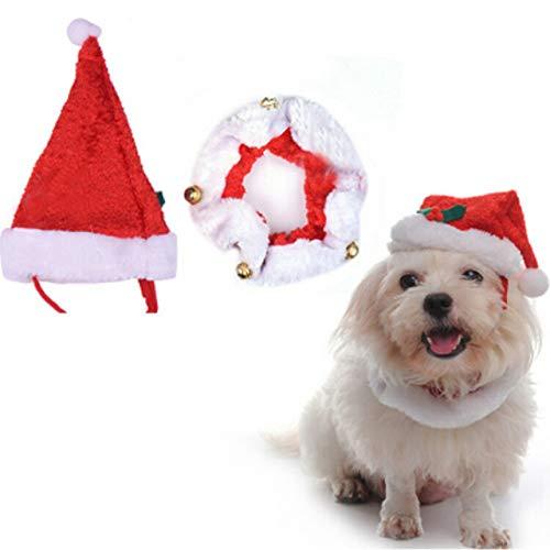 KESOTO Weihnachten Kostüm Haustier Set, 2 Stück Hut -