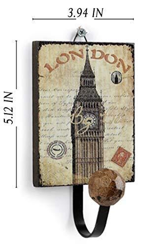 Blue Dan Großer rustikaler Kleiderbügel aus Holz im Antik-Vintage-Stil zum Aufhängen von Kleidung, Souvenir, Mehrzweck-Eingang für Mäntel, Taschen, Hüte, Kleidung London Big Ben Clock Tower