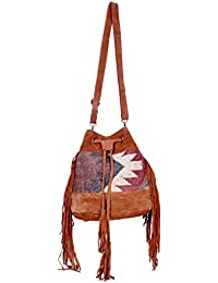 IndiWeaves Women Vintage Handmade Kilim Leather Handle Cross Body Sling Bag - B07658QSQ1