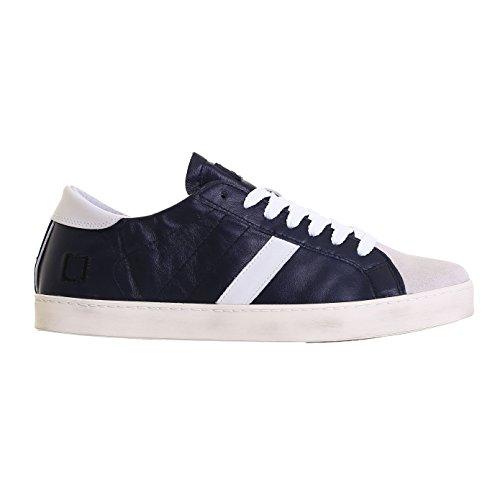Sneaker D.A.T.E. Hill Low in pelle blu e camoscio bianco bleu