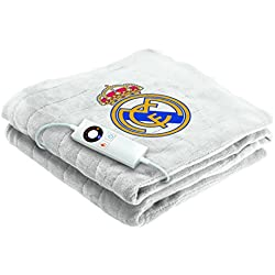 Imetec Real Madrid - Manta eléctrica para sofá, 120 x 160 cm, individual, suave tejido lavable, color blanco