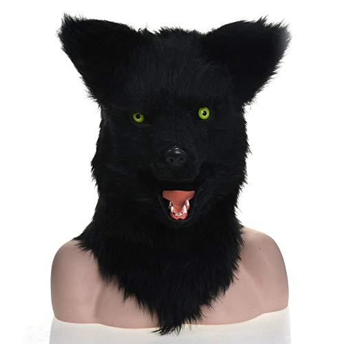 MUJUN Schwarzer Wolf Kopf Maske, Maskerade Halloween Karneval Geburtstag Party Kostüm realistisch handgefertigt angepasst Tier Cosplay beweglichen Mund mit Fell verziert (Halloween-kostüme Furries In)