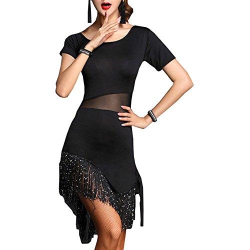 YOUMU Damen Tanzkleid Latein Salsa Cha Cha Tango Fransen Ballroom Kostüm Rumba Rock, Damen, Schwarz, L(EU S)