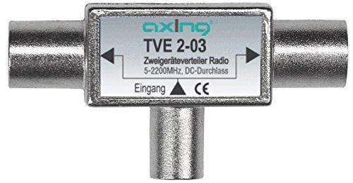 Axing TVE 2-03 TV Zwei-Geräte-Verteiler BK UKW DAB Sat (5-2200 MHz) DC-Durchlass 2x IEC-F und 1x IEC-M