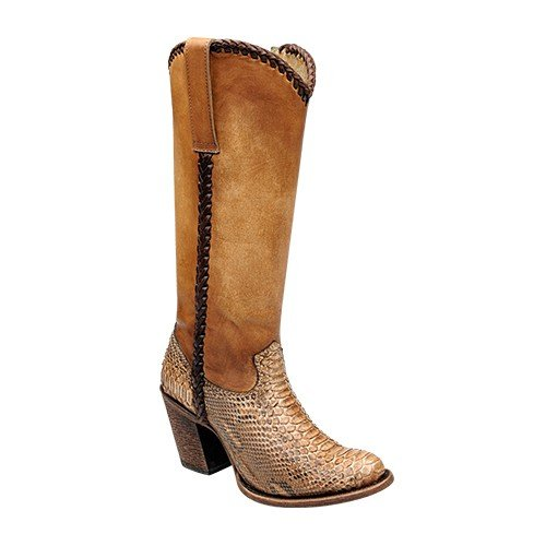Cuadra Phyton Leather Cowboy Boots for Women Acido Nuez