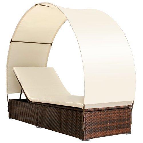 Miadomodo Polyrattan Sonneninsel Lounge Sonnenliege Farbwahl inkl. Kissen Sitzauflage Sonnendach...