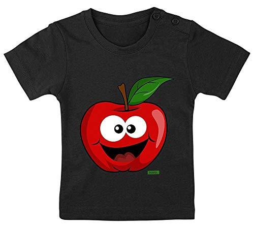 Geschichte Mädchen T-shirt (HARIZ Baby T-Shirt Apfel Lachend Früchte Bunt Inkl. Geschenk Karte Pinguin Schwarz 15-24 Monate / 80-92cm)