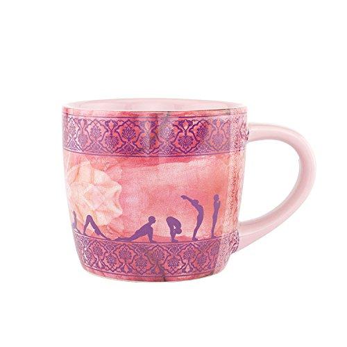 bodhi YogiMug Keramiktasse Sun Salutation, Tee-Tasse (aubergine) mit Yoga-Design-Print für Fans der indischen Yoga-Philosophie
