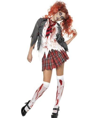 Abitur Horror Zombie Schulmädchen Kostüm, Grau, mit Jacke, angenähtem Hemd, Krawatte und Rock, (Schulmädchen Zombie Kostüme)