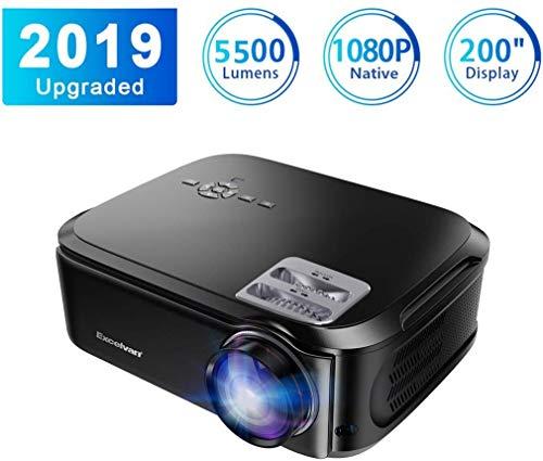 Beamer Excelvan Native 1080P Beamer 5500 Lumen Video Beamer USB/VGA/SD/HDMI Auflösung 1920*1080P Full HD LCD Projektor Kontrastbildschirm 1500: 1 für Heim und Büro Kompatibel mit TV Box PS4 PC Mobile