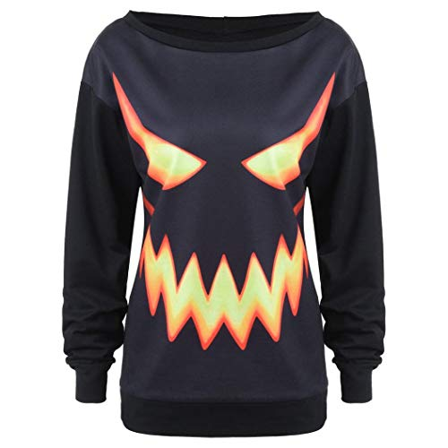Cooljun Damen Halloween Kürbis Print Langarm Sweatshirt Pullover Tops Bluse Shirt Mode Langarmshirts Pulli Sport Pullover (X-Large, Schwarz)