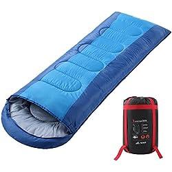Semoo Saco de Dormir Impermeable, de 6-22ºC, 190T, Encapuchado para Adultos, con Bolsa de Compresión (Azul)