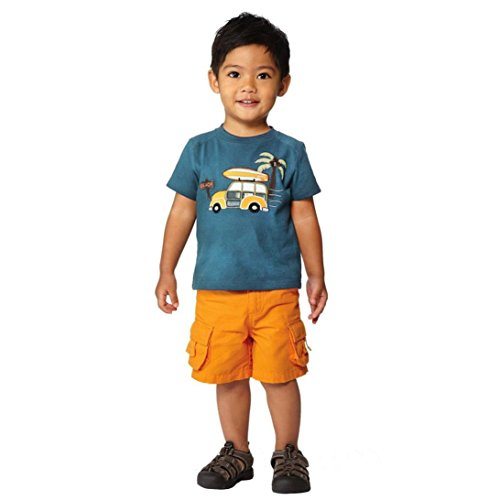 JERFER Jungen Sommer T-Shirt mit Cartoon Drucken Auto 1-6 Jahre (Blau, 5T) (Shirt Uniform Hose)