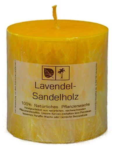 Marmorierte Natur Kerze 7,5 x 7,5 cm aus Pflanzenwachs, Duft LAVENDEL und SANDELHOLZ, ungebleichter Docht (Sandelholz-kerzen)