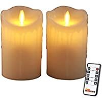 Homemory Pack of 2 Flameless Pillar Candle, Remote Control, 2/4/6/8Hours Timer, Dimmer, Candle/Light Mode, 5 Inch Ivory Wax LED Fake Candle with Flickering Flame for Wall Sconce, Church, Fireplace