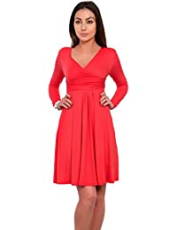 6379a607e21 Futuro Fashion Femmes Longueur Genou Jersey Manche Longue Patineuse Empire  Robe - Corail