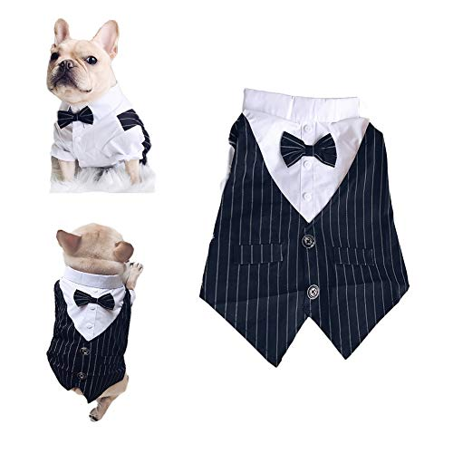 Meioro Pet Clothes Dog Shirt Dog Tuxedo Bow Tie Shirt Suitable for Wedding Party Puppy French Bulldog Pug (L, Bow tie shirt)
