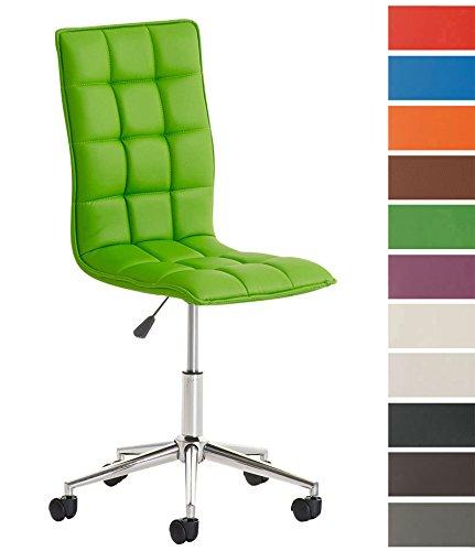 CLP Taburete De Trabajo Peking Tapizado En Cuero PU I Silla De Oficina Sin Reposabrazos I Taburete con Ruedas & Regulable En Altura I Color: Verde