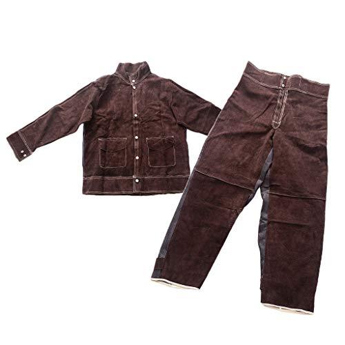 B Blesiya Schweißbekleidung Hitzebeständige Hoze + Hemd Schweißanzüge Flammfeste Schweißanzüge (Größe L)