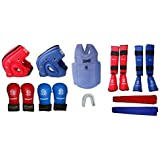 Kai Approved Goodwin Karate Safety Kit Red And Blue-Pack Of - 2 Head Guard + 1 Chest Guard + 2 Set Hand Gloves + 2 Set Shin Guard + 1 Mouth Guard + 2 Belts-Size Small