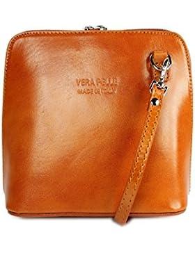Belli Ital. Ledertasche Damen Umhängetasche Handtasche Schultertasche - 17x16,5x8,5 cm (B x H x T)
