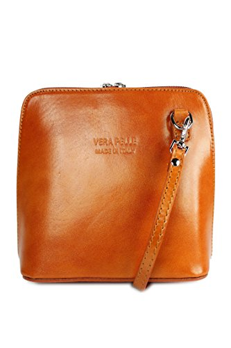 italiano Borsa in pelle piccolo pratico Borsa a tracolla Ladies elegant borsa a tracolla , 17x16,5x8,5 cm (B x H x T) cognac