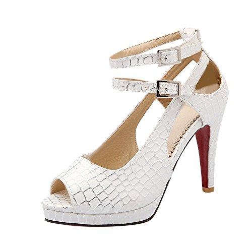 Mee Shoes Damen modern reizvoll Peep toe ankle strap Knöchelriemchen Plaid Schnalle Nubukleder Blockabsatz Plateau Sandalen Weiß