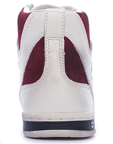 Converse Weapon Hi leather/suede unisex adulto, pelle liscia, sneaker alta Off White/Maroon