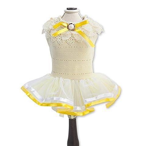 PETCUTE Perruque de Luxe Pour Chien Lady Dog Dress Petite Princesse Pour Animaux de Compagnie Fille de Fleurs Fête de Mariage Jupes Pour Printemps été Jaune