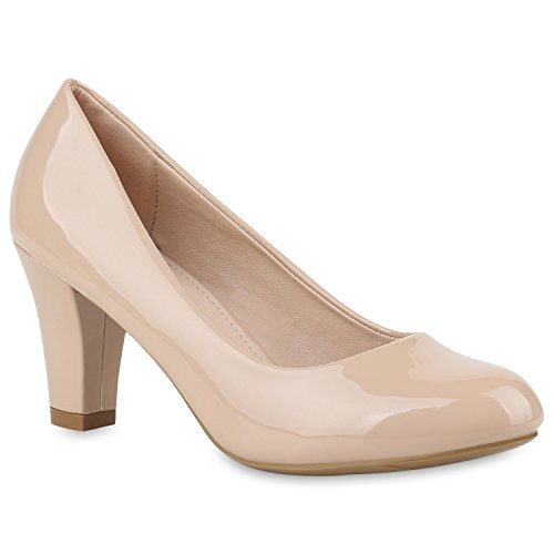 Damen Pumps Klassische Pumps Lack Elegante Business Schuhe 144840 Nude Lack 40 Flandell