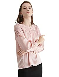 3717b6717fe521 LILYSILK Silk Blouse for Women and Ladies Top Round Neck Lace Hollow See  Through Sexy Pullover Style Long…