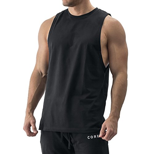 Sixlab Essentials Cut Off Tank Top Muskelshirt Gym Fitness (M, Schwarz)