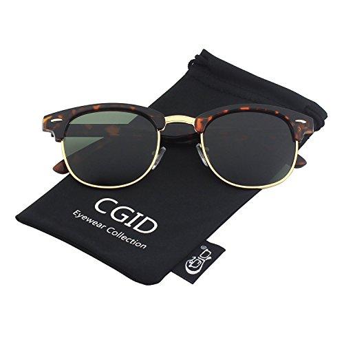 CGID MJ56 Premium Clubmaster Inspired Half Frame Polarized Sunglasses with Metal Rivets(Tortois-Green)