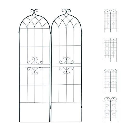 Relaxdays Set 2 Grigliati Giardino per Rampicanti Metallo 180x50 Design Forma di Arco ad Incastro Verde Scuro