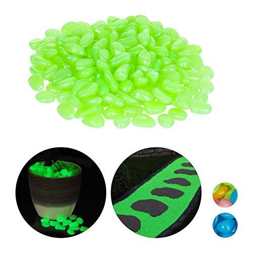 Relaxdays Fluoreszierende Steine, 200 Stück, nachtleuchtend, Deko Leuchtsteine für Garten, Gehweg, Aquarium, Vasen, grün