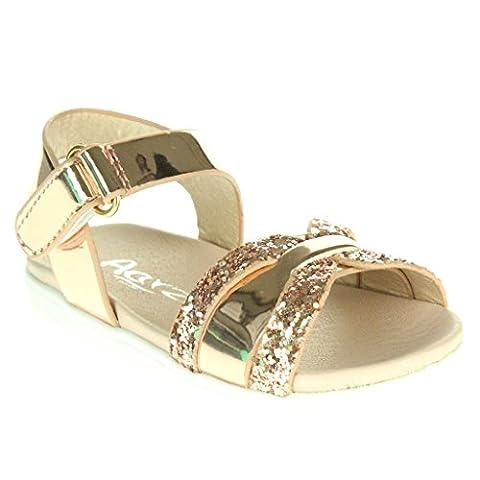 Filles Enfants Miroiter Fermeture Velcro Soir Mariage Fête Princesse Anniversaire Tous les jours Champagne Sandales Chaussures Taille 22