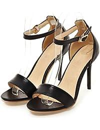 ee0bfb451e9 Zapatos de Mujer Plateado Negro Rojo Hebilla de Oro Sandalias de Boda  Tacones Altos Verano Sandalias