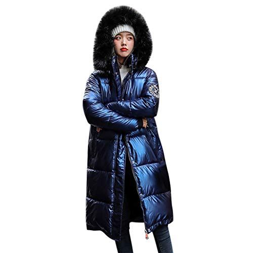 Damen Jacke Winter Lang Winter Dicker Warme Lose Winddicht Helle Oberfläche Diamant Langen Mantel