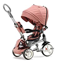ZCE 4 In 1 Tricycle 3 Wheel Baby Bike With Push Handle Rotating Seat Reclining Backrest Child Trike