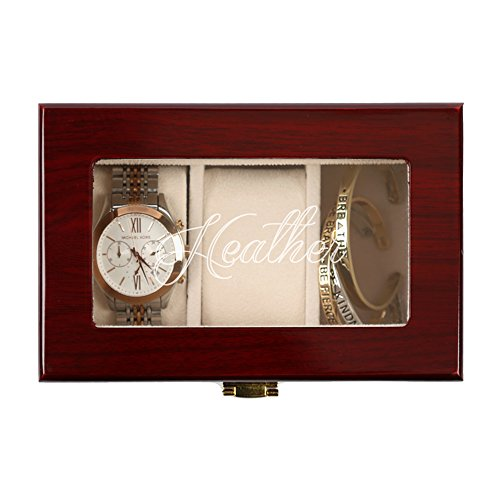 Personalisierte Direct Herren 's Custom Name 3Slot Cherry Finish Holz Watch Fall - Custom Finish Holz