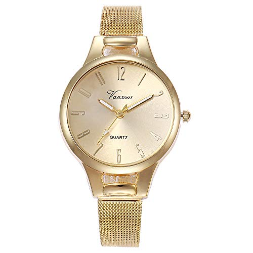 Hffan Damen Mädchen Uhren Kostenloser Versand Gold Silber Roségold Armbanduhren für Frauen Retro Elegant Damen-Uhr Einfach Freizeit Uhr Damenuhr Quarzwerk(Gold,One Size)