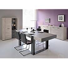salle manger complte bois gris barker l 224 x l 90 x - Salle A Manger Grise Et Blanche