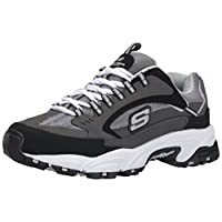 Skechers Sport Men's Stamina Nuovo Cutback Lace-Up Sneaker,Charcoal/Black,6.5 M US