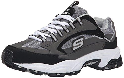 Skechers men's stamina cutback trainers, grey (charcoal & black leather/charcoal mesh ccbk), 8.5 (42.5 eu)