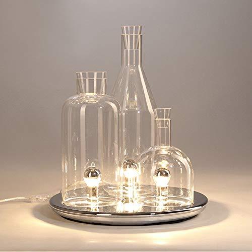 Chrome-transparent-tisch-lampe (XXIONG Moderne Glas Lampe Tischlampe Kreative Atmosphäre Nachttischlampe Kunst Chrom Matte Wohnzimmer Schreibtischlampe Schlafzimmer Licht, φ40cm hoch 47cm E27*3 (Nicht enthalten) (Transparent))