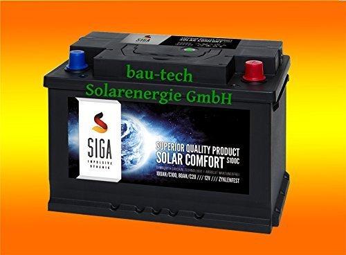 bau-tech Solarenergie 100Ah 12Volt Calcium Solar Batterie Akku Wohnmobil Boot Versorgungsbatterie GmbH