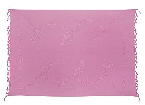 Kascha Sarong Pareo Wickelrock Strandtuch Tuch Wickeltuch Handtuch - Blickdicht - ca. 170cm x 110cm - Rosa Einfarbig mit Stickerei Handgefertigt inkl. Kokos Schnalle in Schmetterlingform (Kokos-schnalle)